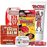 Bacon Survival Kit Gift Pack (5pc Set) - Bacon Dental Floss, Lip Balm, Mints, Frosting & Sizzling Bacon Rock Candy + Bacon Addict Silicone Wristband