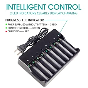 18650 Battery Charger for Rechargeable Batteries and Universal Smart Battery Charger for 18650 26650 14500 16340 18500 10440 18350 17670 Li-Ion Intellicharge Charger 8 Bay (Not Batteries) (Tamaño: XL(8 Bay))