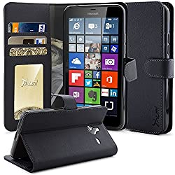 Lumia 640 XL Case, Tauri [Stand Feature] Wallet Leather Case with Stand, ID & Credit Card Pockets Flip Cover For Microsoft Lumia 640 XL - Black