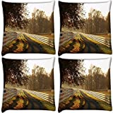 Snoogg Clear Pathway Pack Of 4 Digitally Printed Cushion Cover Pillows 12 X 12 Inch