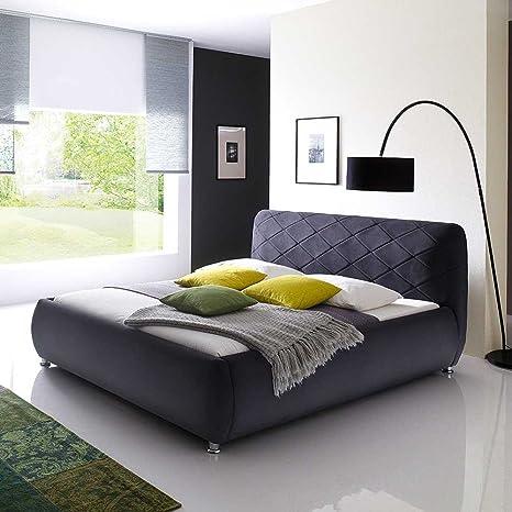 Bett mit Stoffbezug Anthrazit Breite 208 cm Liegefläche 180x200 Pharao24