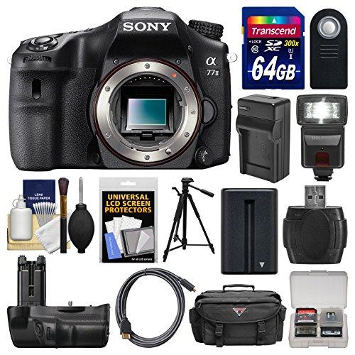 Sony Alpha A77 Ii Wi-Fi Digital Slr Camera Body & Vg-C77Am Battery Grip With 64Gb Card + Case + Flash + Battery/Charger + Tripod + Remote Kit