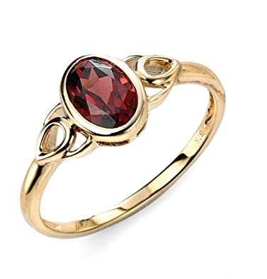9ct Yellow Gold Garnet Celtic Style Ring