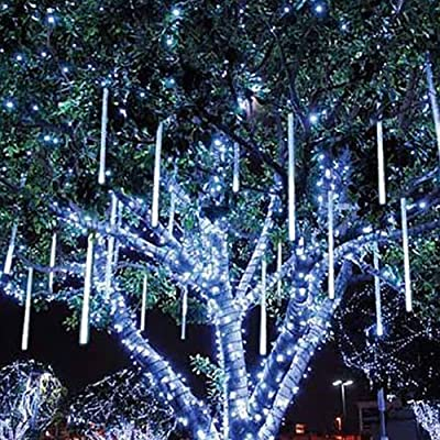 CM-Light 9.8ft String Lights Shower Falling Star Rain Drop Snow Fall LED XMAS Party Decoration Led Lights (9.8ft,8 Tube White, Blue, Multi-color)