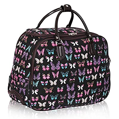 Ladies Travel Holdall Bags Hand Luggage Womens Butterfly Weekend Wheeled Trolley Handbag from TrendStar
