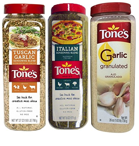 Tone's Italian Lover's Variety 3 Pack - Includes One Tone's Italian Seasoning Blend 6 Oz, One Tone's Garlic Granulated 26 Oz. And One Tones Tuscan Garlic Seasoning Blend 27 Oz.