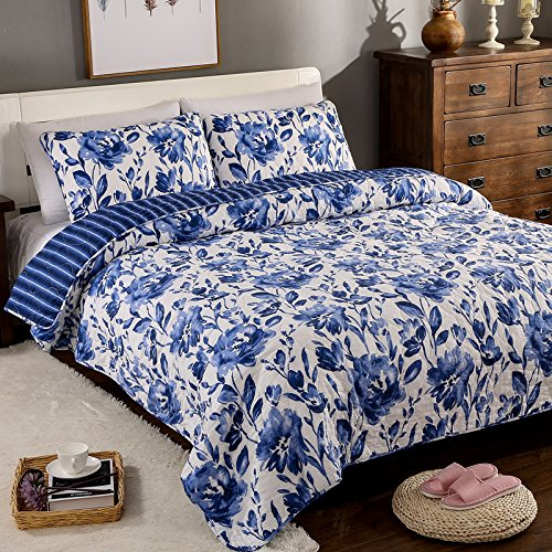 Blue-and-White-Porcelain-Design-3-Piece-Comforter-Patchwork-Quilt-Bedspeads-Sets-100-Cotton-Fit-King-Size-Bed
