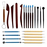 Polymer Clay Tools 23pcs,Yolyoo Modeling Clay Sculpting Tools, Wooden Dotting Tools,Rubber Tip Pens,Ball Stylus Tool,Modeling Tools Pottery Tools,Rosewood Ceramics Tool