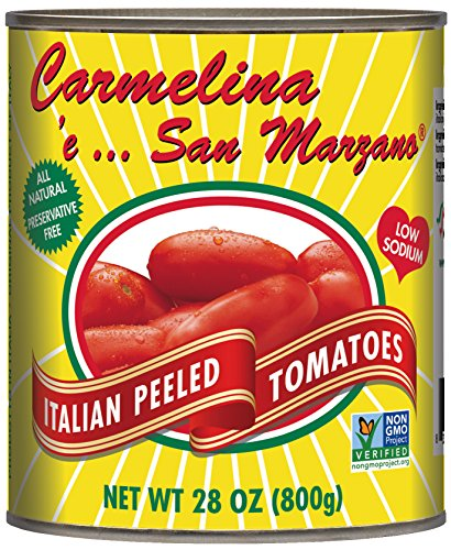 Carmelina San Marzano Italian Whole Peeled Tomatoes in Puree, 28 ounce (Pack of 6) (Canned Italian Tomatoes compare prices)