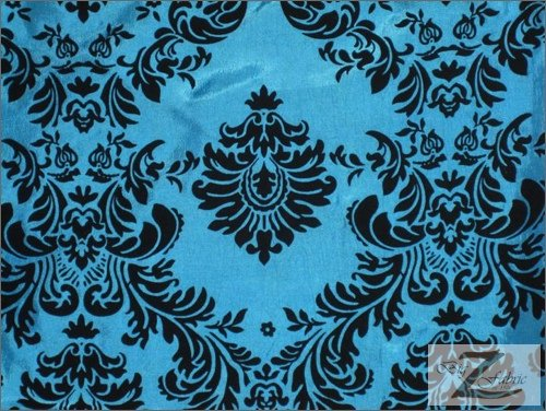DAMASK FLOCKED TAFFETA FABRIC - TURQUOISE/BLACK - ONLY $6.50/YRD SOLD BTY