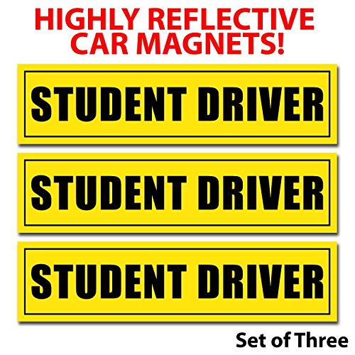 Wall26-Reflective-Student-Driver-Magnetic-Car-SignsSet-of-3-Safety-Caution-Sign