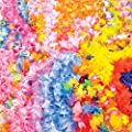 Fun Express Mega Silk Lei Flower Assortment for Tropical Hawaiian Luau Party Favors (50 Count) by Oasis Supply