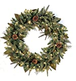 GKI Bethlehem Lighting Green River Spruce 24-Inch Wreath with 50 Clear Mini Lights