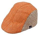 (ビグッド)Bigood キッズ 子供用ハンチング帽 キャスケット 鳥打ち帽 ベレー帽 キッズキャップ 草編み スパンコール付き オレンジ