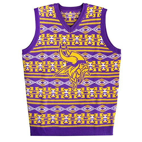NFL Minnesota Vikings Aztec Print Ugly Sweater Vest