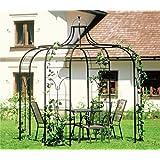 Pavillon / Gartenpavillon Ø: 240cm aus Metall 89 kg Eisenpavillon Schwarz pulverbeschichtet