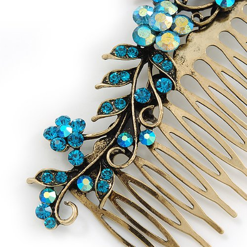 Vintage Inspired Teal Blue Swarovski Crystal 'Flower & Butterfly' Side Hair Comb In Antique Gold Tone - 115mm 5