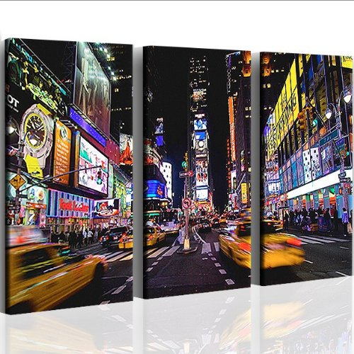 TIMES SQUARE 3 pieces artwork on canvas ready to hang. Stretched and stapled to frames. Better than Poster. Feels like oil painting. Great photos and pictures as modern art.ER NEW YORK CITY NYC LOUNGE