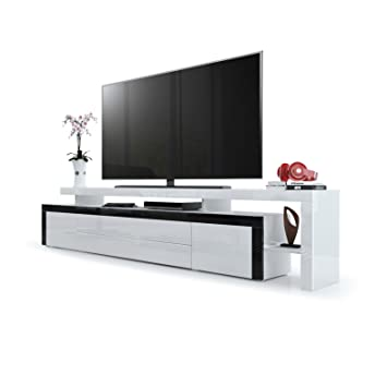 Meuble TV bas Leon V3, Corps en Blanc haute brillance / Façades en Blanc haute brillance avec une bodure en Noir haute brillance