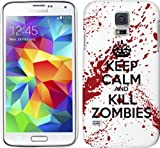 Samsung Galaxy S5 Case - White and Red Hard Plastic (PC) Cover with Funny Keep Calm Kill Zombies Design
