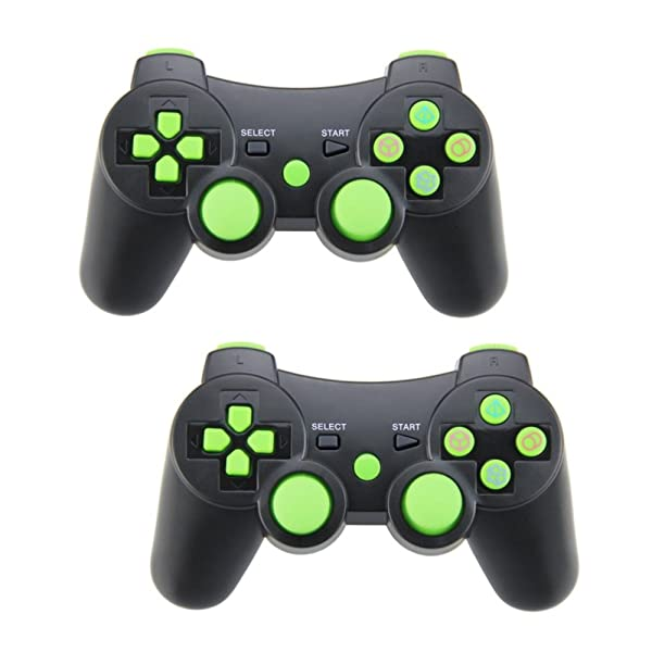 Pack of 2 PomeMall PS3 Wireless Controller Gamepad Bluetooth Dualshock Joystick Sixaxis Remote for Sony PlayStation 3 PS3, Raspberry Pi 3