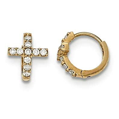 14ct Gold Polished CZ Cross Childrens Hinged Hoop Earrings