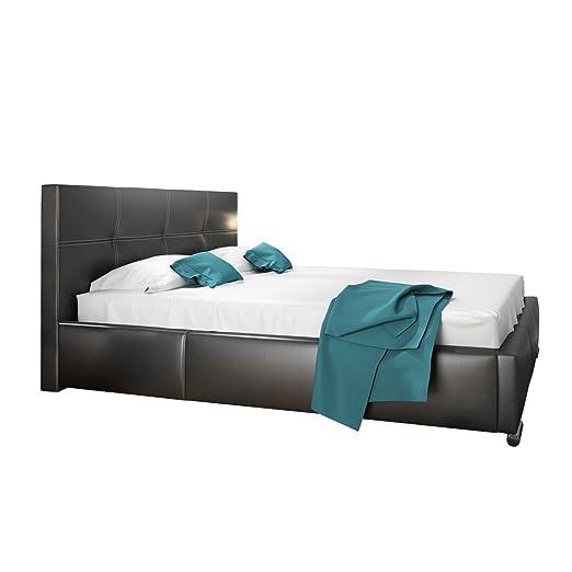 Polsterbett Semi mit Bettkasten und Lattenrost, Farbauswahl, Doppellbett, 3 Größen, Stillvolles Bett, verchromte Fuße (160x200, Madryt 1100)