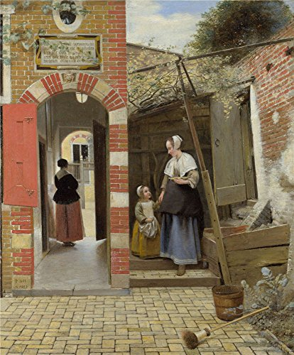 Perfect Effect Canvas ,the Imitations Art DecorativePrints On Canvas Of Oil Painting 'Pieter De Hooch The Courtyard Of A House In Delft ', 16 X 19 Inch / 41 X 49 Cm Is Best For Basement Decor And Home Gallery Art And Gifts