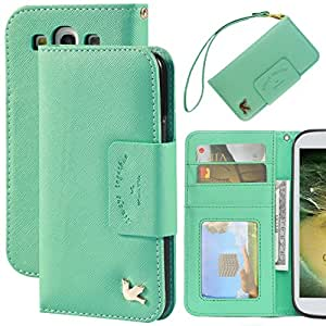 Case for Samsung Galaxy S3,By Hilda,Card Holder,PU Leather Case,(PureGreen)