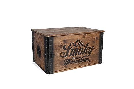 Mesa de centro auxiliar madera baúl Vintage shabby chic Landhaus madera maciza de nogal