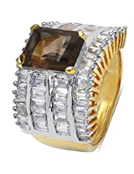 9.30 Grams Smoky Topaz & White Cubic Zirconia Gold Plated Brass Ring