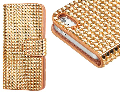 Mylife Bright Gold {Fashion Rhinestones Design} Textured Koskin Faux Leather (Card And Id Holder + Magnetic Detachable Closing) Slim Wallet For Iphone 5/5S (5G) 5Th Generation Smartphone By Apple (External Rugged Synthetic Leather With Magnetic Clip + Int