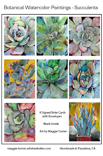 Handmade Succulent Greeting Cards Agave Notecards Set of 8 Cactus Signed Prints Art Cards