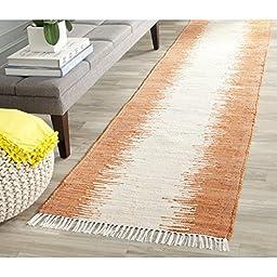 Safavieh Montauk Collection MTK751C Hand Woven Orange Cotton Runner, 2 feet 3 inches by 9 feet (2\'3\