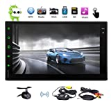 Universal 2 Din 7 inch Capacitive Touch Screen Car Stereo with Andriod 6.0 System 1GB RAM + 16GB ROM in Dash GPS Navigation Headunit Support Phone Mirror AM FM RDS Radio + Free Wireless Rearview