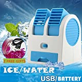 Coohole Portable Mini USB Air Conditioner Cooler Fan Rechargeable For Outdoor Desktop, Blue