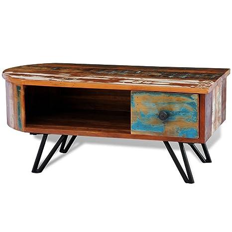 Anself Wohnzimmertisch Couchtisch mit Ablagefach und Schublade aus Recyceltes Holz