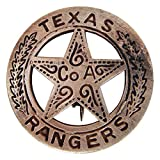 Brass Texas Ranger Badge With Peso Back (Color: Gray, Tamaño: 3x3)