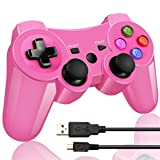 Double Vibrating Wireless Controller for PS3 With Charge Cable (Bright Pink )