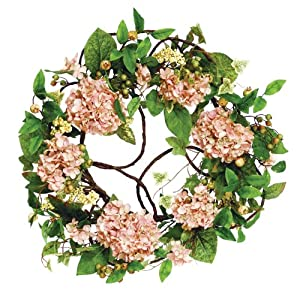 Melrose Soft Salmon Peach Hydrangea Wreath, 20-Inch Diameter