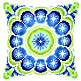 Vervaco Cross Stitch Cushion Rosette Blue Green