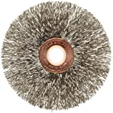 Weiler Copper Center Wire Wheel Brush, Round Hole, Stainless Steel 302, Crimped Wire