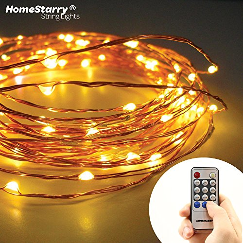 Homestarry® String Lights -120 Warm White LED's on a Flexible Copper Wire 20 Ft – Perfect for interior or patio environments. Add romantic light to your Bedroom, accent artwork in your Living Room or scatter on bushes and trees around your Patio. Remote Control feature easily regulates your lighting-40,000 hours of lighting. image
