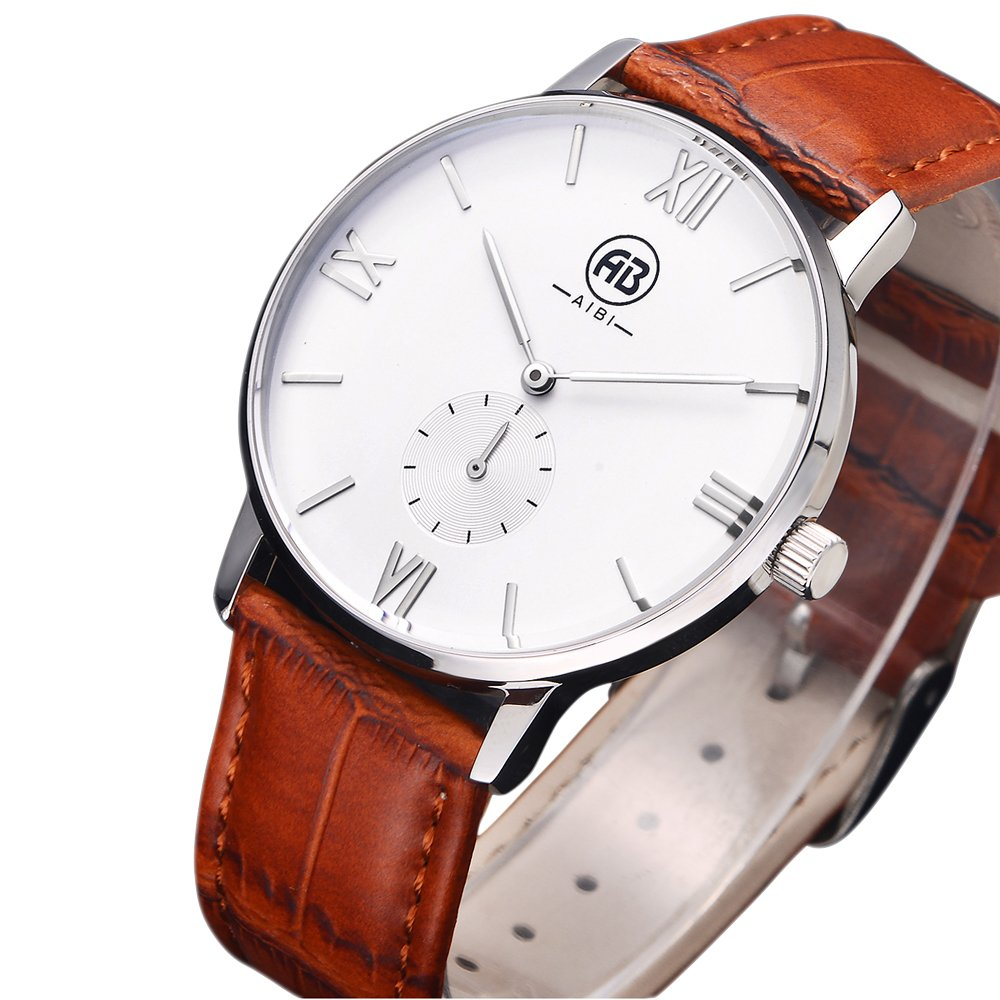 AIBI Men`s Silver Tone White Large Face Quartz Analog Brown Leather Watch with Small Second Dial 0