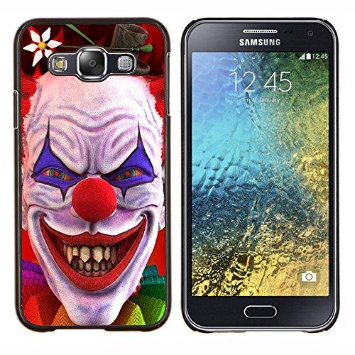 Dura PC Custodia Protettiva Cassa Telefono Caso / Hard Case for Samsung Galaxy E5 E500 / Phone Case TECELL Store / Pagliaccio sorriso malvagio Diavolo Rosso Occhi Creepy Clown Evil Smile Devil Red Eyes Creepy
