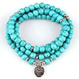 GVUSMIL 108 Mala Beads Wrap Bracelets for Yoga Charm Natural Gemstone 8mm Turquoise Wrap Bracelet (Color: Blue Turquoise)