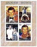James Bond 007 sellos para coleccionistas - Roger Moore - 4 sellos magníficos - Ideal para la filatelia - sin charnela
