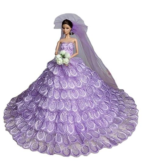 Pour 11 '' Dolls dentelle robe Vêtements poupées main douce robe de mariée