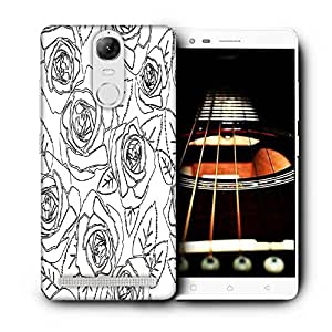 Snoogg Black Roses White Pattern Printed Protective Phone Back Case Cover For Lenovo K5 Note