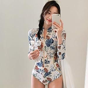 1d02c8d8bf Iusun Women 's One Piece Wetsuit Long Sleeve Thin Printing Swimwear Swim  Suit Zip Front Super ...
